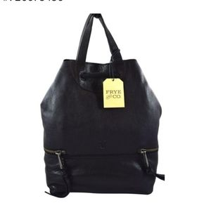 Frye and Company black leather backpack.
